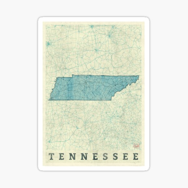 Tennessee State Map Blue Vintage Sticker