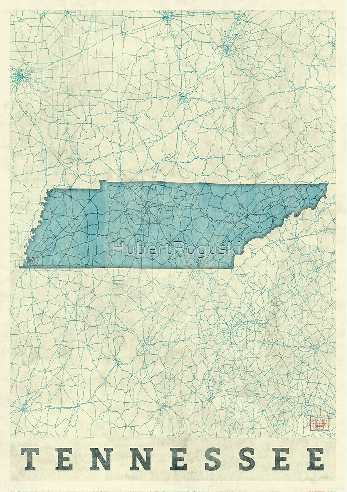 Tennessee State Map Blue Vintage by HubertRoguski