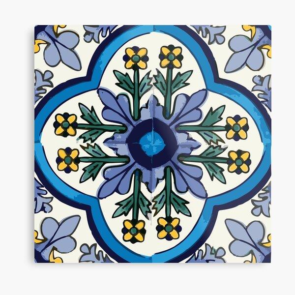 Talavera Blue Green Flora Metal Print