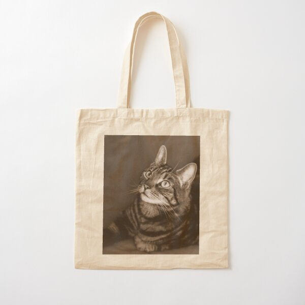 Vintage-Style Cat Photography Sepia Cotton Tote Bag