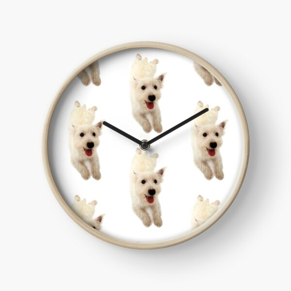 West Highland White Terrier Puppy Smiling Clock