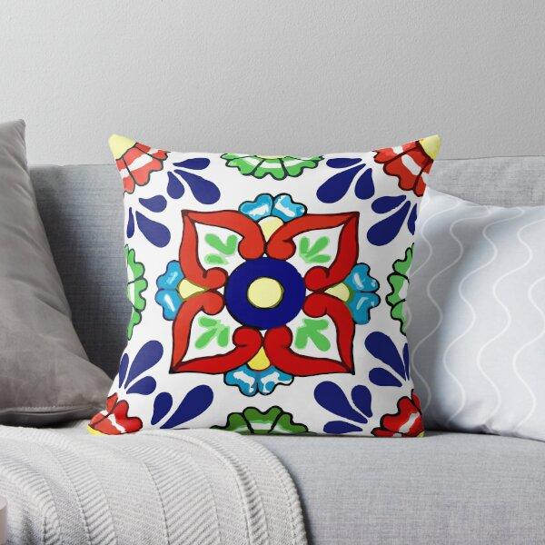Talavera Blue Drops Throw Pillow