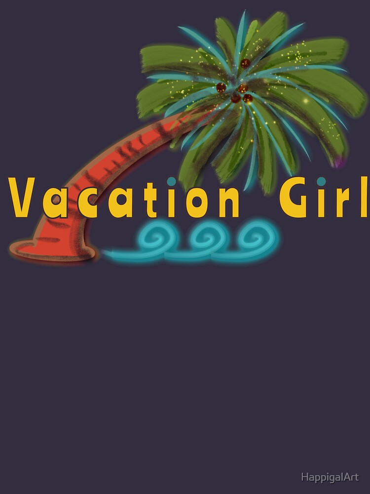 Vacation Girl (Palm Tree) by HappigalArt
