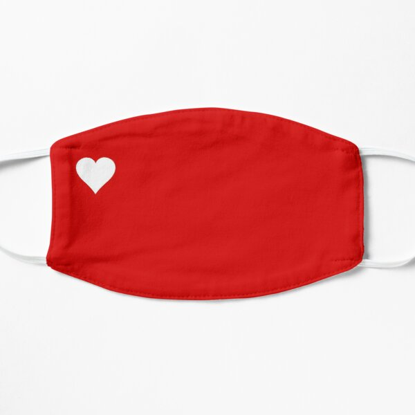 Mask heart red and white Flat Mask