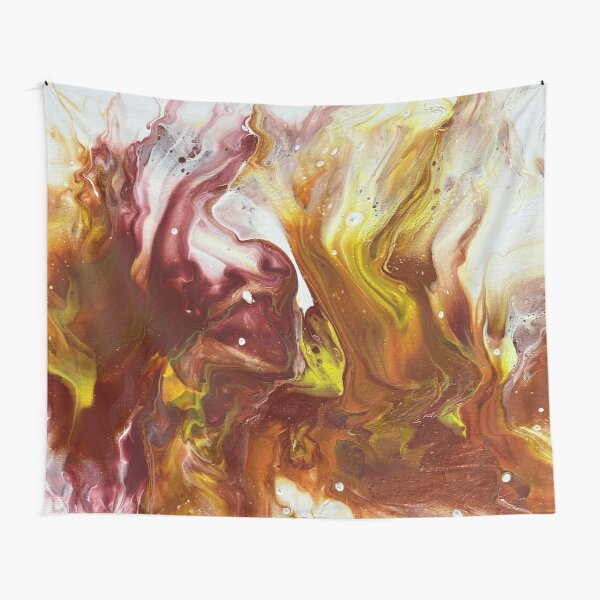 This is a Red, Copper and Yellow Pour Painting (using a blow dryer) Tapestry