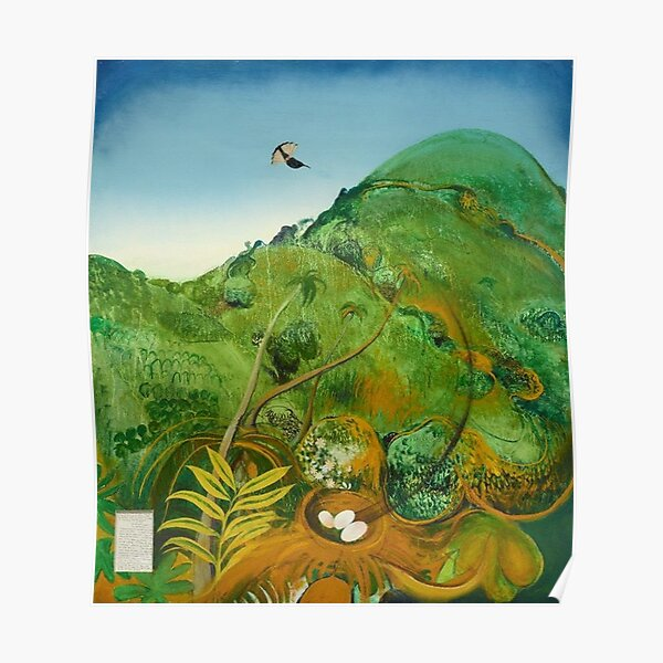 Brett Whiteley- The Green Mountain (Fiji) (1969) Oil and collage on cardboard, by the great Australian artist. Poster