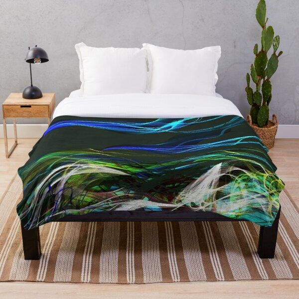 Mermaid Ocean Abstract. Throw Blanket