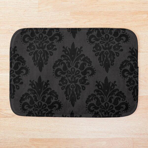Classic Black and Dark Grey Damask Pattern Bath Mat
