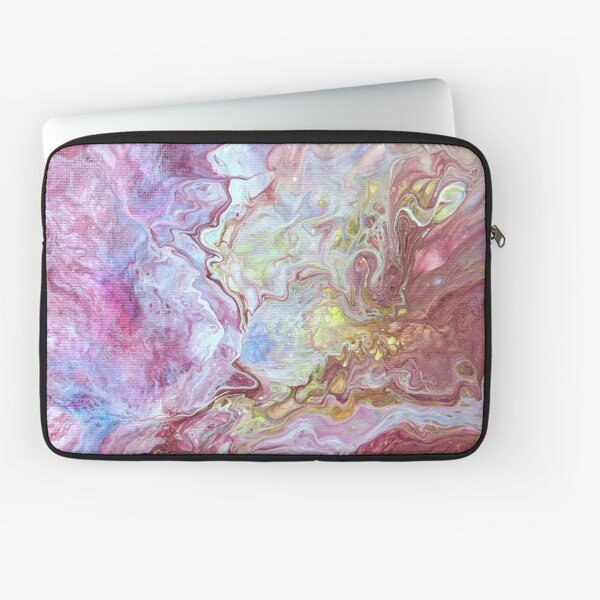 Delightful Red, Pink, Yellow, Blue Abstract Acrylic Pour Art Laptop Sleeve