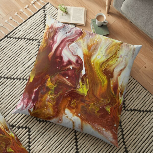 This is a Red, Copper and Yellow Pour Painting (using a blow dryer) Floor Pillow
