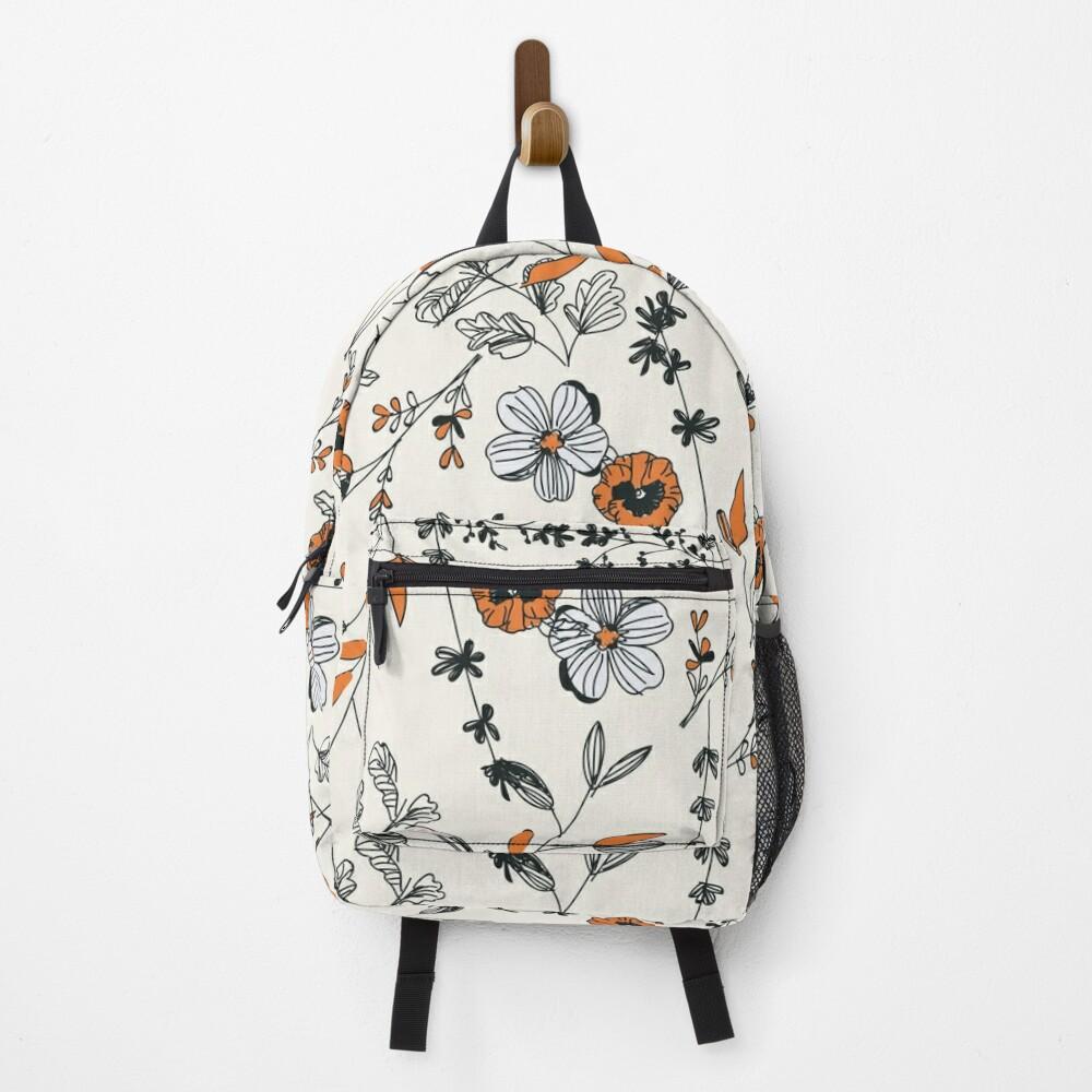 Orange Flower Pattern Backpack