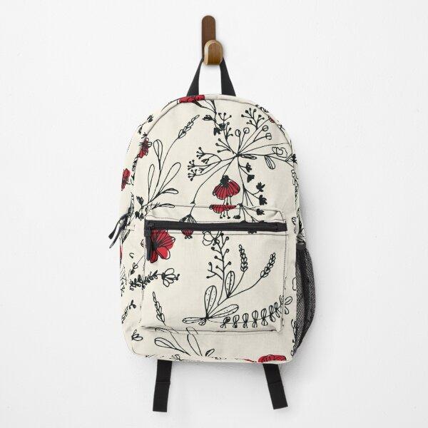 Red Flower Pattern Backpack