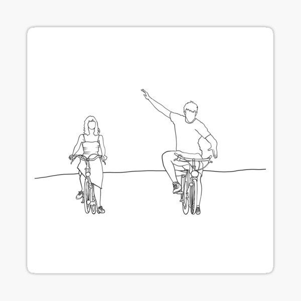 Gente normal - Connell y Marianne - Sally Rooney - Dibujo lineal - Escena de vacaciones en bicicleta Pegatina