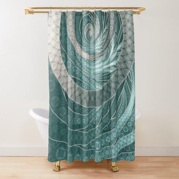 Eggshell Blue, Aqua & Beige Fractal Bangles Shower Curtain