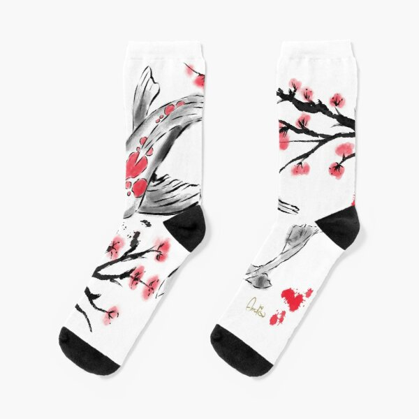 Red Carp in Japanese Style. Artwork By Annalisa Amato Socks