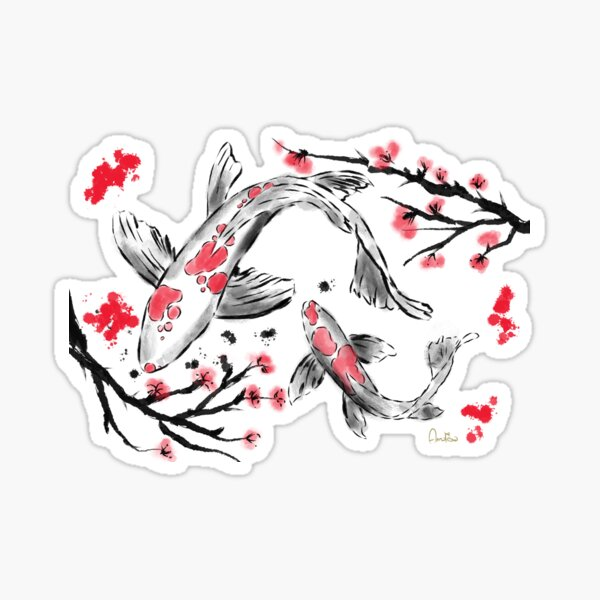 Red Carp in Japanese Style. Artwork By Annalisa Amato Sticker
