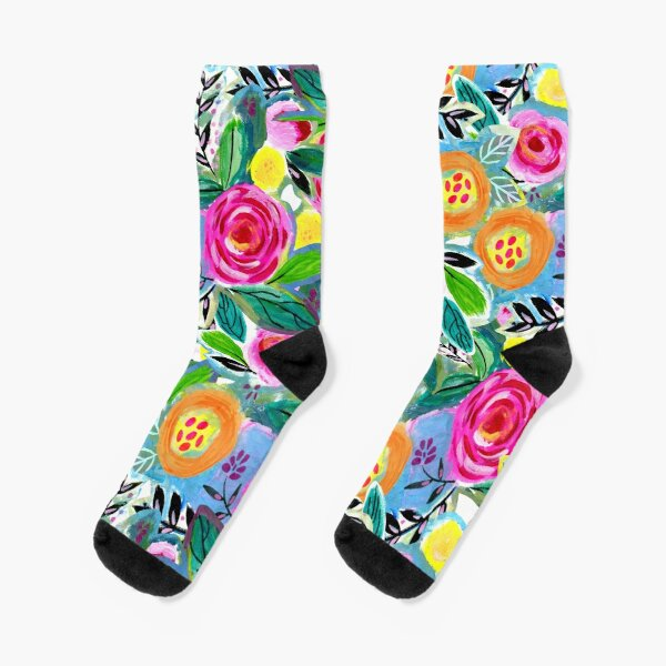 A happy and bright watercolour floral pattern Socks