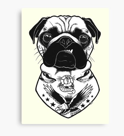 Tattooed Dog - Pug Canvas Print