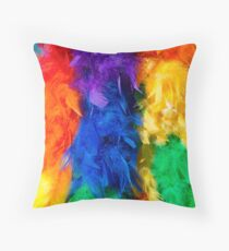 Rainbow Multicoloured Feathers Throw Pillow