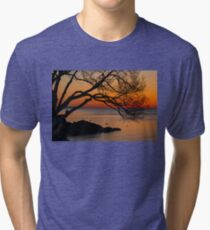 Colorful Quiet Sunrise on the Lake  Tri-blend T-Shirt