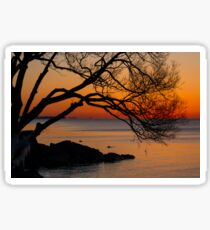 Colorful Quiet Sunrise on the Lake  Sticker