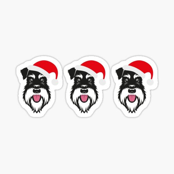 Santa face - silver & black schnauzer Sticker