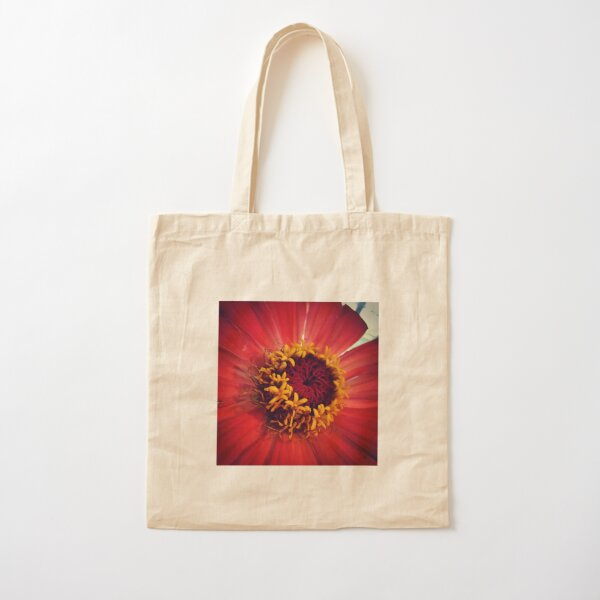 red zinnia - details Cotton Tote Bag