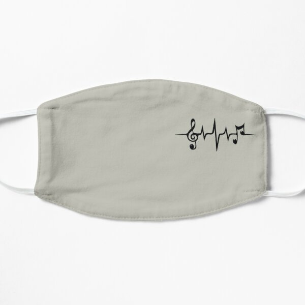 Music Pulse Heartbeat Notes Clef Frequency Wave Sound Festival  Flat Mask