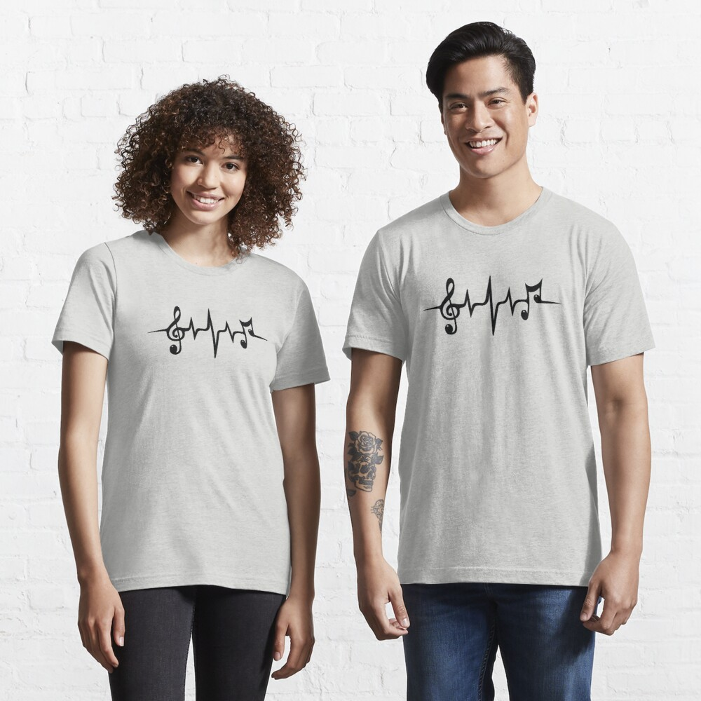 Music Pulse Heartbeat Notes Clef Frequency Wave Sound Festival  Essential T-Shirt