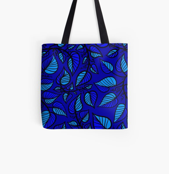 Blue Graphic Vines (Summer Magic) All Over Print Tote Bag