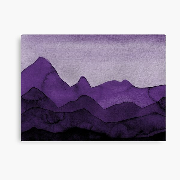 Berge in Violett, Magenta, Lila, Grau, Schwarz  Leinwanddruck