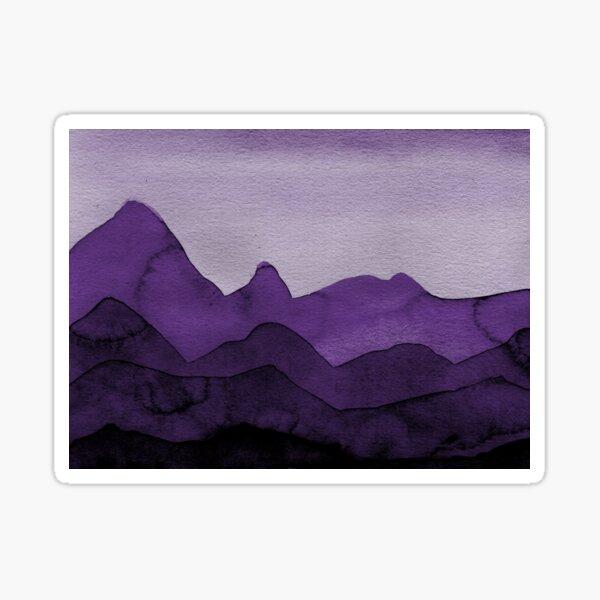 Berge in Violett, Magenta, Lila, Grau, Schwarz  Sticker