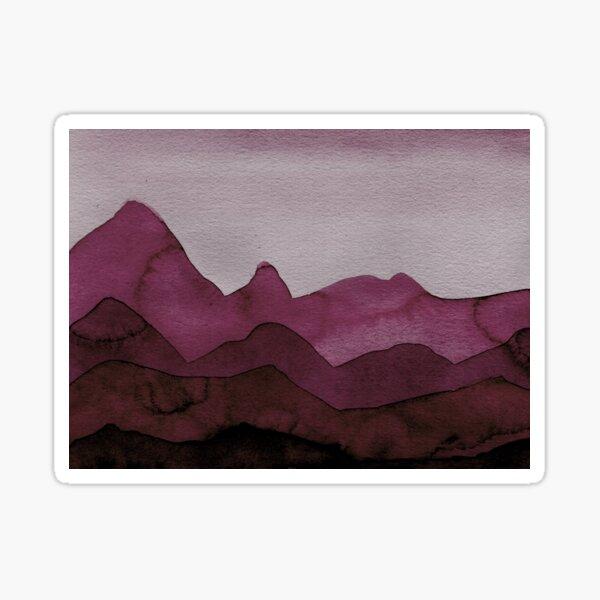 Berge in Bordeaux, Magenta, Lila, Violett, Rot, Schwarz, Grau Sticker
