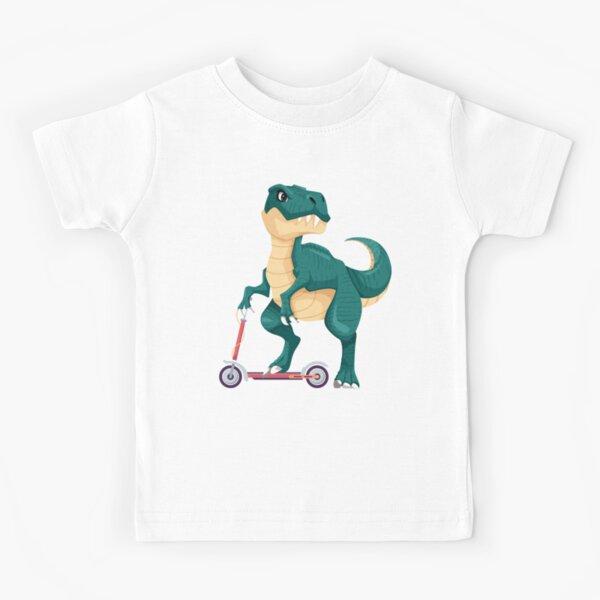 DINOSAUR ON A SCOOTER Kids T-Shirt