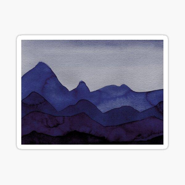 Berge in Blau, Violett, Türkis, Azure, Schwarz, Grau Sticker