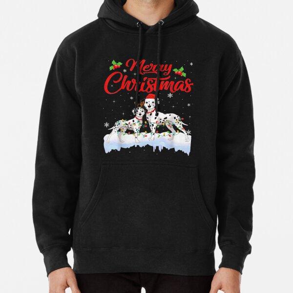 Dalmatian Dog Christmas Lights Santa Hat Xmas Dog Pullover Hoodie