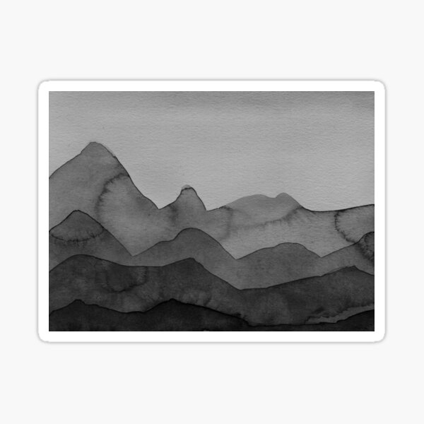 Berge in Grau, Schwarz, Weiss Sticker