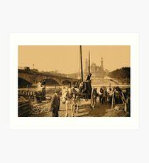 Paris France history, Coal arriving by barge Seine river Art Print