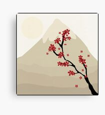 Cute Mount Fuji and Red Cherry Blossoms Canvas Print
