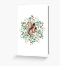 Squirrel and flowers Greeting Card