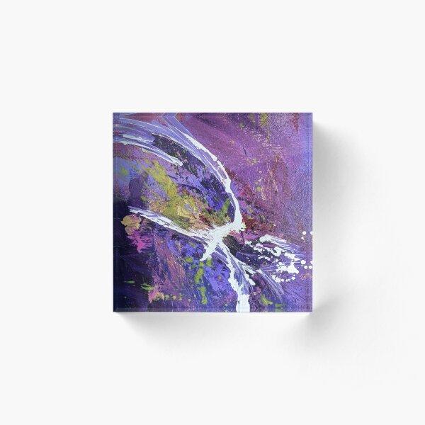 White Splatter Vibrant Purple and Blue Abstract Acrylic Art Acrylic Block