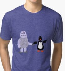 Cool Funny Abominable Snowman and Penguin Love Tri-blend T-Shirt
