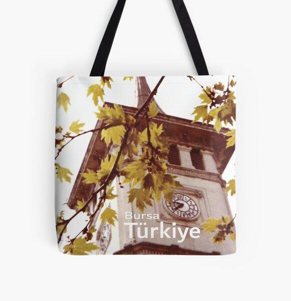 Vintage Bursa Clock Tower, Türkiye 1978 All Over Print Tote Bag
