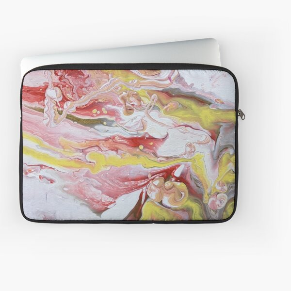 Yellow, Red, and White Swirl Marble Abstract Acrylic Art  Laptop Sleeve