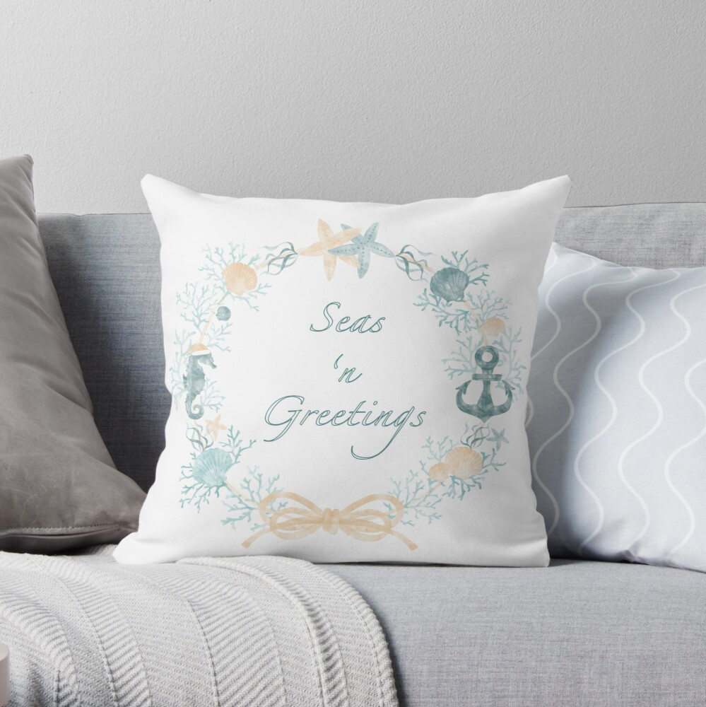 Seas 'n Greetings Coastal Christmas Wreath Throw Pillow