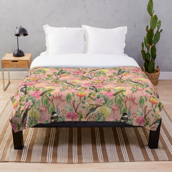 Australian Birds and Blooms Native Flora Chinoiserie Throw Blanket