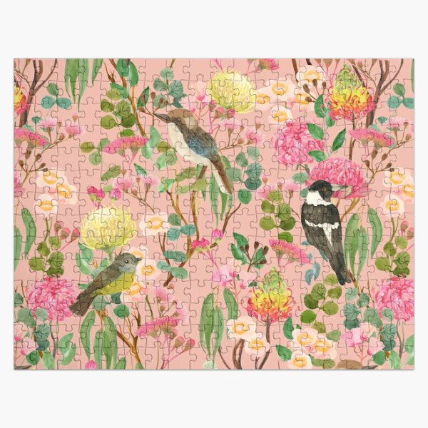 Australian Birds and Blooms Native Flora Chinoiserie Jigsaw Puzzle