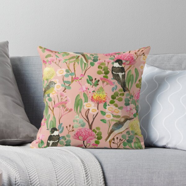 Australian Birds and Blooms Native Flora Chinoiserie Throw Pillow