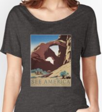 WPA Vintage Travel Poster See America Arches Women's Relaxed Fit T-Shirt