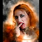 Vampire look with blood dripping from mouth by PhotoStock-Isra
